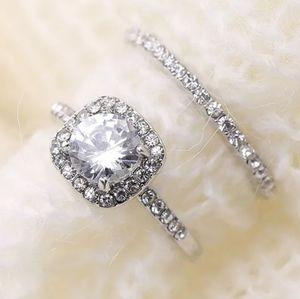 Princess Halo Sterling Silver Engagement Ring Set